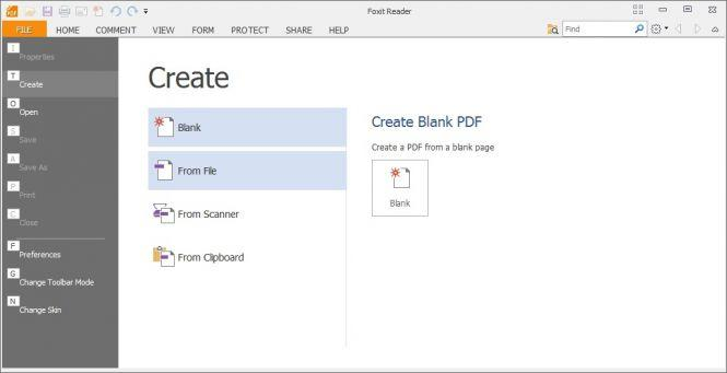 Foxit Reader PDF Creation Window