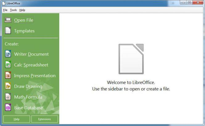 LibreOffice Main Menu