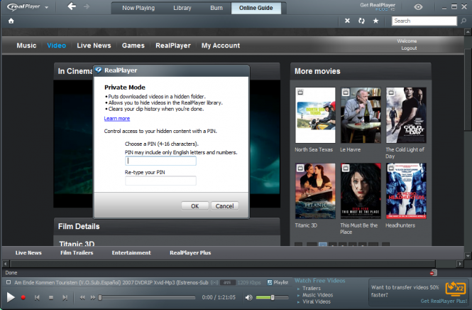 RealPlayer Private Mode Window