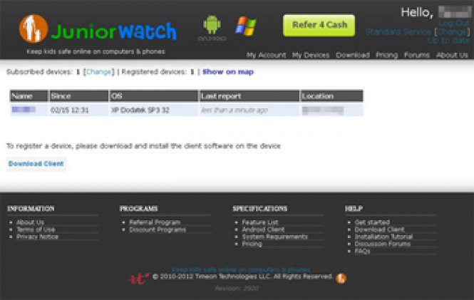JuniorWatch is a parental control tool