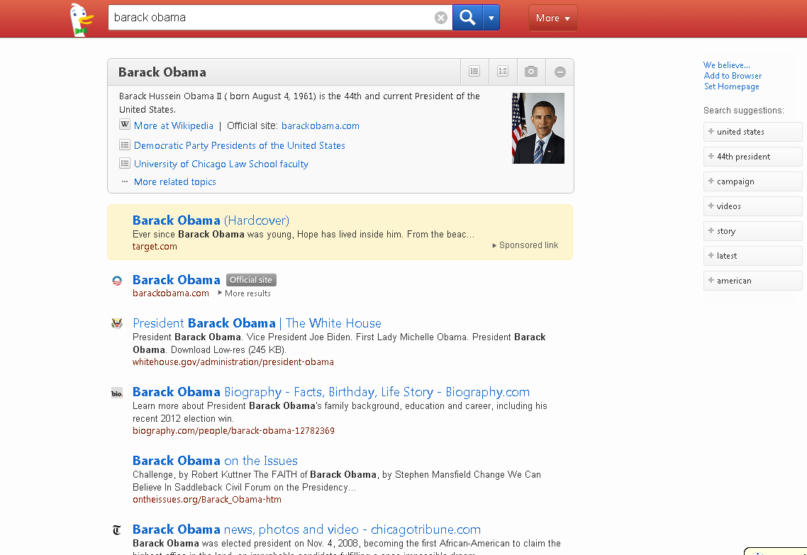 Barack Obama on DuckDuckGo