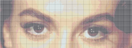 Sample pattern in 300x400 stitches, which is equal to the resolution of the original image. However, the resulting number of stitches is too large.