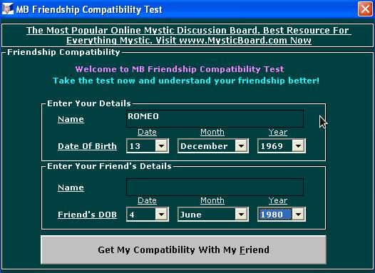Dating compatibility questionnaire
