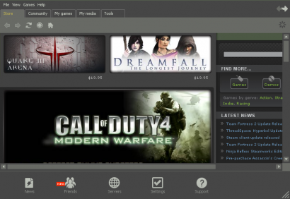 Steam Digital Store Main Window