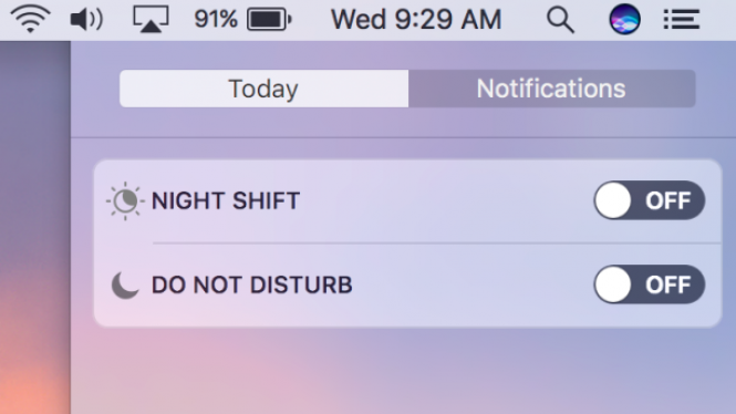 Night Shift toggle